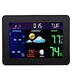 TS-71 Indoor Outdoor Temperature Monitor Digital Weather Station DCF77 RCC Thermometer RH% Barometric Pressure with 2 Wireless Sensor