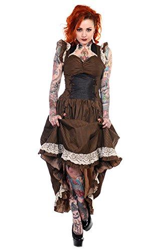 Banned Long Black Brown Stripe Steampunk Vintage Victorian Corset Dress (S)