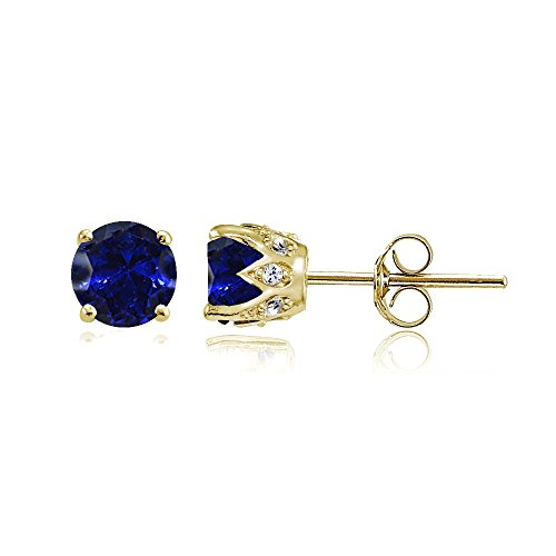 Cubic Zirconia Sapphire Earrings - Yellow Gold Flashed Sterling Silver Created Blue Sapphire and Cubic Zirconia Accents Crown Stud Earrings