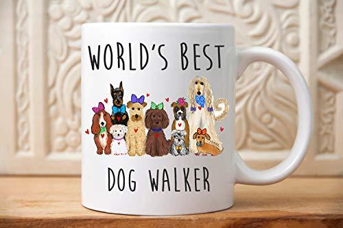 Worlds Best Dog Walker Mug Gift for Dog Walker dog walkers gift pet sitter dog walking gift Pet lovers animal lover dogs dog ()