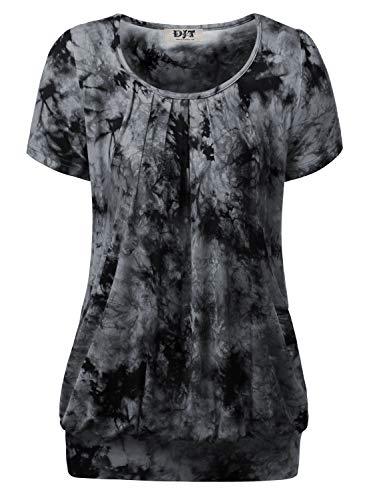DJT Women's Short Sleeve Pleated Front Blouse Tunic Top X-Large Tie Dye-Black