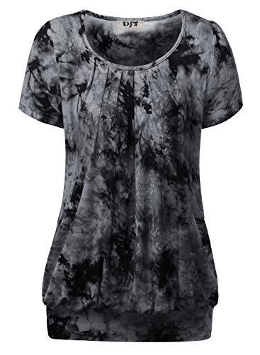 (DJT Women's Short Sleeve Pleated Front Blouse Tunic Top Large Tie Dye-Black)