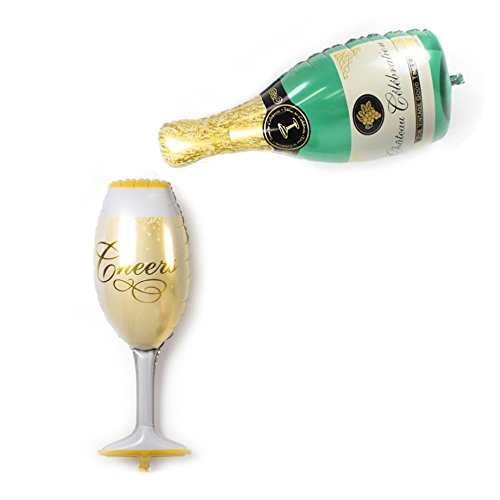 Mcolour Balloon Aluminum film Champagne Bottle and Goblet Balloons 38 Inch For - Bottle Theme