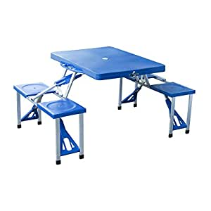 Outsunny 4 Person Plastic Portable Compact Folding Suitcase Picnic Table Set With Umbrella Hole - Blue