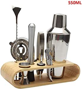 Stainless Steel Bar Tool, Cocktail Shaker Set Bartender Kit Cocktail Mixer Set with Wooden Display Stand Cocktail Gift Set,9pcs 550ml