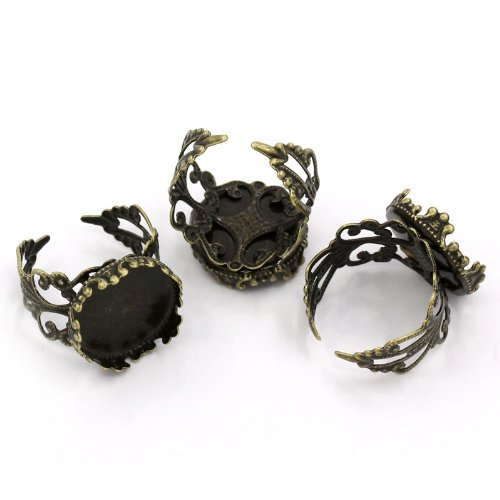 Filigree Ring Setting - PEPPERLONELY Brand 10PC Antiqued Bronze Adjustable Filigree Rings Base (18.3mm US Size 8) Cabochon Frame Setting Tray (Fits 16mm)