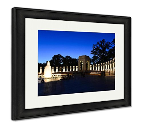 Ashley Framed Prints Lincoln Memorial Washington Dc National Wwii Memorial At Night, Wall Art Home Decoration, Color, 26x30 (frame size), Black Frame, (Lincoln Memorial Framed Photograph)