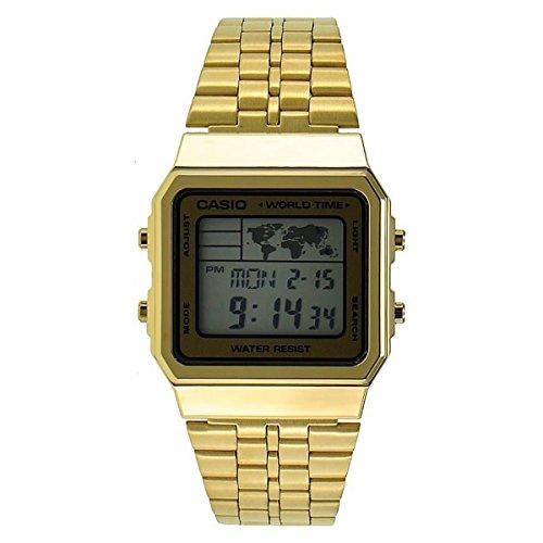 CASIO A500WGA-9 – Reloj con movimiento cuarzo japonés, para hombre, color dorado