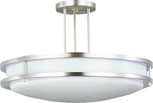 Maxim 85548WTSN Linear EE 2-Light Semi-Flush Mount, Satin Nickel Finish, White Glass, G24q-3 Quad T4 CFL Fluorescent Bulb , 60W Max., Dry Safety Rating, Standard Dimmable, Glass Shade Material, 672 Rated Lumens