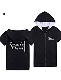 XCOSER SAO T Shirt Costume for Halloween Cosplay Short Sleeve L