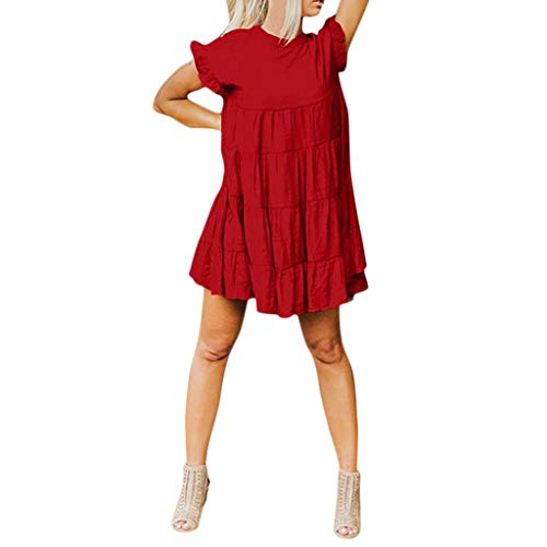 BODOAO Womens Ruffle Sleeve Casual Short Sleeve Dress Plain Swing Party Dress Wine ()
