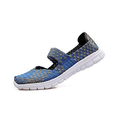 competitive price 5b4c5 e91f0 ... Creeker Mocasines Ligeros de Tejido Elástico Verano Zapatillas Mujer  para Caminar Azul ...