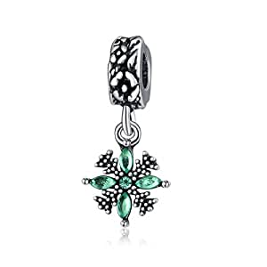 Green Dangle Floral Spacer Charm by Crystal H Brand for Pandora Bracelet