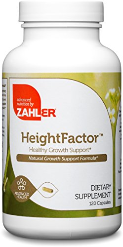 Zahler HeightFactor, Healthy Growth Supplement, Natural Supplement for Growing Taller, Certified Kosher, 120 - 120 Hormone Capsules Natural Growth