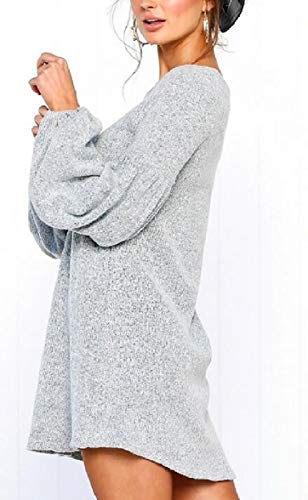 Sodossny-au Womens Manches Longues Sexy O Cou Maille Lâche Automne Gris Mini-robe