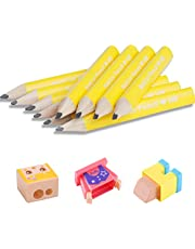 NatCot 3.5-inch Triangular Fat Pencil For 2-8 Years Old Kids Use.10 Pencil With Pencil Sharpener And Eraser