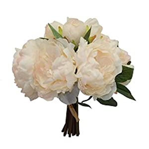 "12"" Peony Bouquet Artificial Silk Wedding Bridal Budh Flowers Decor 10 Blooms 28"