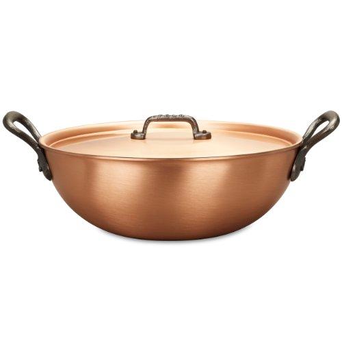 Falk Culinair 28 cm cobre Wok con hierro fundido toreinforced y cubierta a juego - 4,5 litros: Amazon.es: Hogar