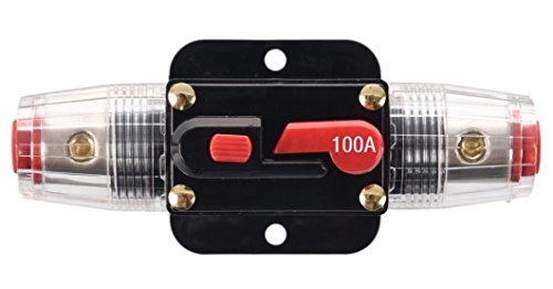 ANJOSHI 100A Auto Car Protection Stereo Switch Fuse Holders Inline Circuit Breaker Reset Fuse Inverter for Car Audio System Protection 12V-24V DC ()