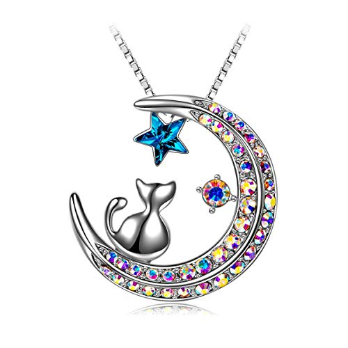 SIVERY Jewelry for Women 'Laid Back Kitten' Woman Cat on Moon Necklace Pendant with Swarovski Crystal, Necklaces for Women, Gifts for Mom
