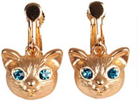 Screw Back Clip on Earring Clip for No Piercing Dangle Animal Cat Crystal Gold Plated for Teens