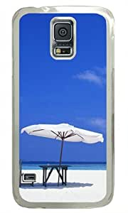 Blue Beach Scenery 005 Samsung Galaxy S5 Hard Shell with Transparent Edges Cover Case by Lilyshouse by ruishername
