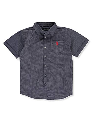 (U.S. Polo Assn. Boys' Toddler Short Sleeve Striped Woven Shirt, Classic Navy, 2T)