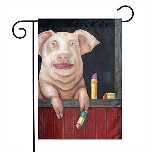 Private Bath Customiz Blind Date Putting Lipstick Funny Pig Makeup Garden Yard Flag Welcome House Flag Banners for Patio Lawn Outdoor Home Decor ()