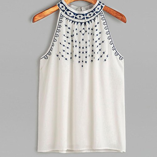 Ouneed Mujeres sin mangas bordadas cosecha superior tanque chaleco Blanco