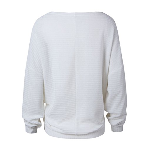 Blanc Loose Women's Autumn O Jumper Neck Knitted ulein Sleeve Fr Tops Sweater Casual Ribbed Batwing Fox Pq4WZnx1