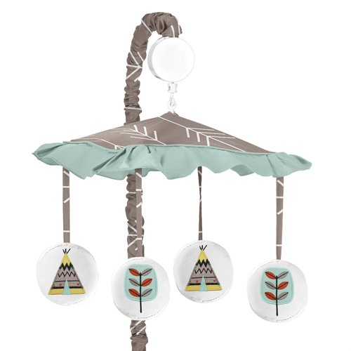 Sweet Jojo Designs Outddor Adventure Aqua Blue and Gray Nature Musical Baby Crib Mobile by Sweet Jojo Designs