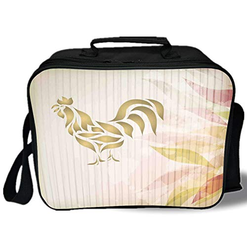 Insulated Lunch Bag,Kitchen Decor,Abstract Modern Style Home Kitchen Cafe Design Rooster Animal Print Signage,Cream Pastel Brown,for Work/School/Picnic, Grey