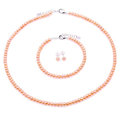 JYX Pearl Necklace Earring Set 4.5-5.5mm Small Pink Freshwater Cultured Pearl Necklace Bracelet and Earrings Jewelry Set for Women 18
