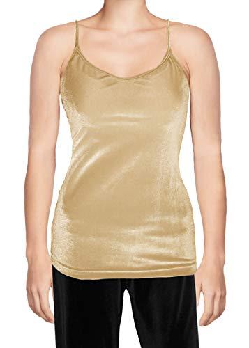- Ooh la la Stretch Velvet Camisole Blouse w Stretch Straps Small Gold