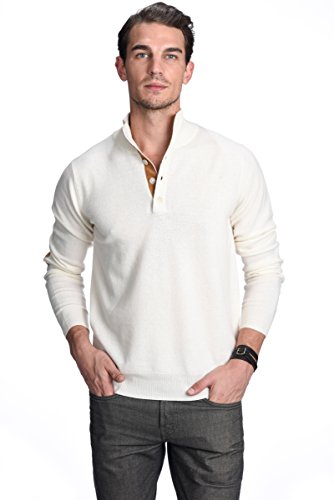 State Cashmere Men's 100% Pure Cashmere Button Mock-Neck Polo Collar Sweater Pullover (Medium, White)
