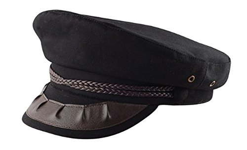 [CAPTAIN OF THE SHIP/PLANE HAT, BLACK Medium] (Ship Captain Costumes)