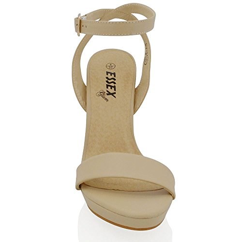 ESSEX GLAM Womens Platform Block Heel Ankle Tie Up Strap Ladies Strappy Sandals Shoes NUDE SYNTHETIC LEATHER If1UUg