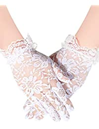 Sumind Girls Satin Gloves Kids Size Formal Gloves Bow Knot Pearl Glove for Wedding Pageant Parties (Style 5, M Size)