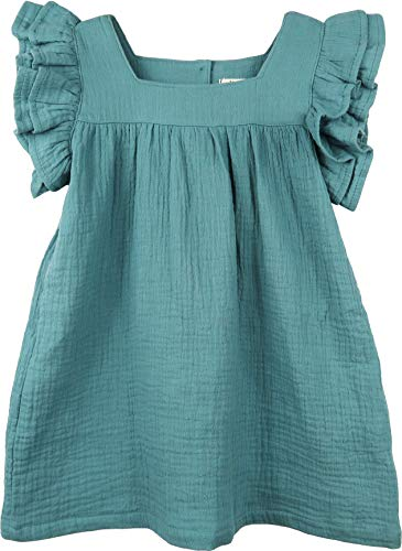 ContiKids Girls Dresses Frill Sleeve Fly Skirt Dress , Forte Cadet Blue, 11 (5-6 years) - Frill Sleeve Top