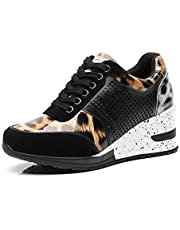 Casual Walking Wedge Sneakers for Women - Ladies Hidden Sneakers Lace Up High Heel Shoes, Best Chioce for Casual and Daily Wear