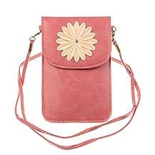 KISS GOLD (TM) Luxury Matte PU Leather Mini Crossbody Single Shoulder Bag Cellphone Pouch (Pink-Model B)