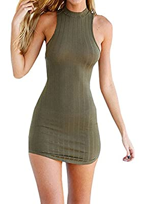 Bigyonger Women's Summer Halter Sleeveless Backless Sexy Mini Bandage Dress