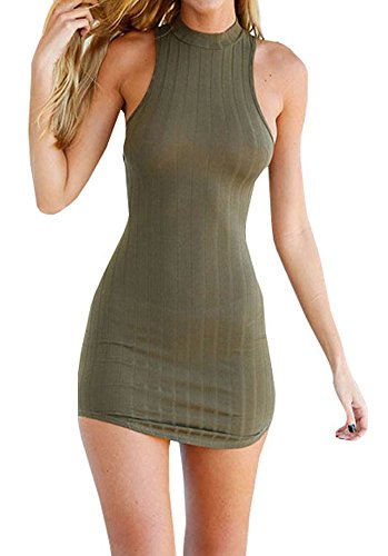 Bigyonger Women's Summer Halter Sleeveless Backless Sexy Mini Bandage Dress,Multi,Small (Knitting Cotton Dress)