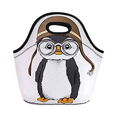 Semtomn Neoprene Lunch Tote Bag Animal the Portrait of Penguin Wearing Motorcycle Helmet Baby Reusable Cooler Bags Insulated Thermal Picnic Handbag for Travel,School,Outdoors, Work