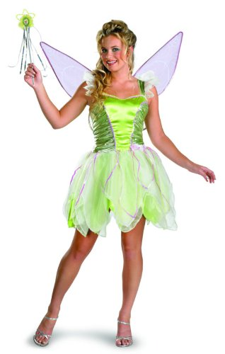 Disguise Women's Disney Fairies Tinker Bell Deluxe Costume, Green, Junior 7-9 (Tinkerbell Costume For Adults)