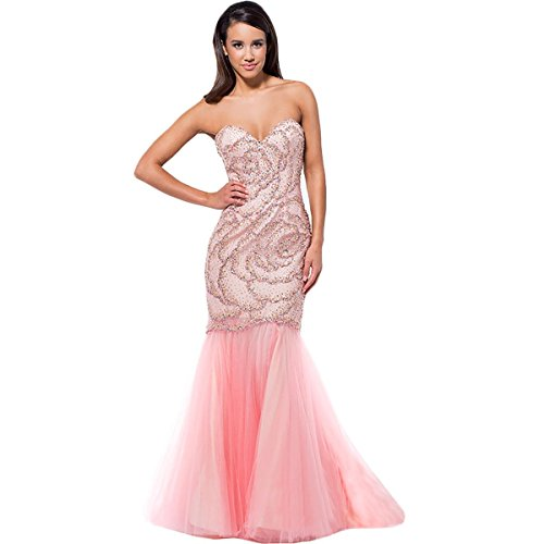Terani Couture Embellished Strapless Formal Dress Pink 8