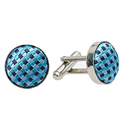 GASSANI Aqua Teal Birdseye Check Bow Tie, Pocket Square & Cufflinks Set