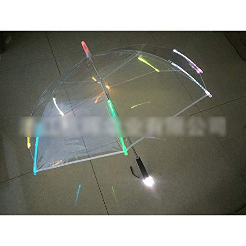 Straight Umbrella Parasol 8 Rib Light up Blade Runner Style Changing Color LED Umbrella with Flashlight Transparent Handle (Umbrella Light Up)