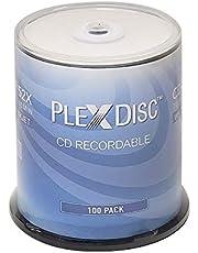 PlexDisc CD-R 700MB 52X White Inkjet Hub Printable Recordable Media Disc - 100pk Spindle 631-205-BX