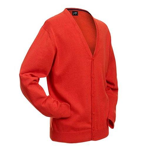 Men's V-Neck Cardigan - Herren Cardigan mit V-Neck XXL,Bordeaux